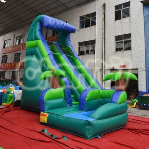 palm tree curved inflatable water slide