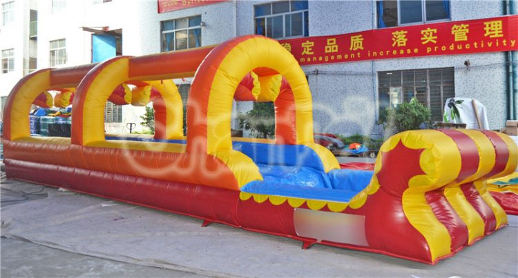 red yellow inflatable water slide