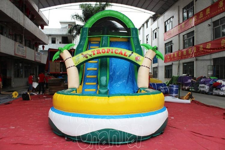 tropical inflatable water slide front side