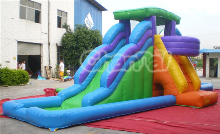 double inflatable water slide