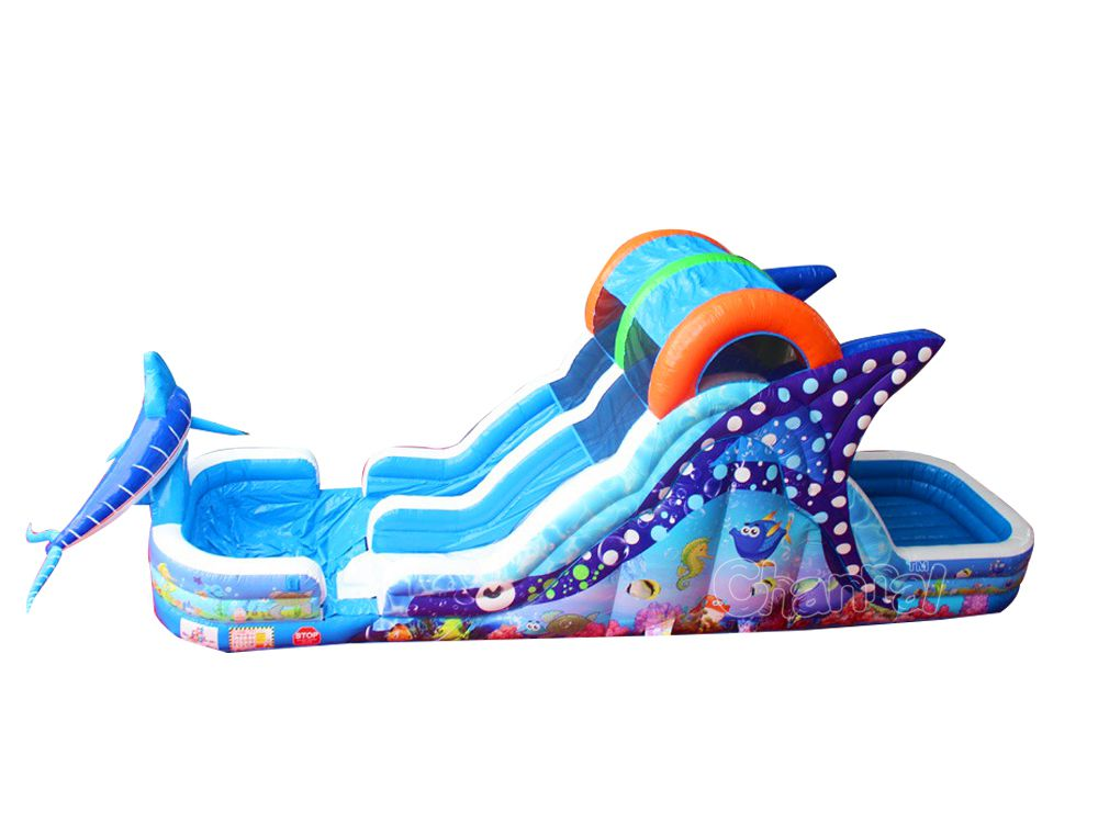 Under The Sea Inflatable Water Slide Channal Inflatables