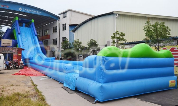 blue hippo inflatable water slide