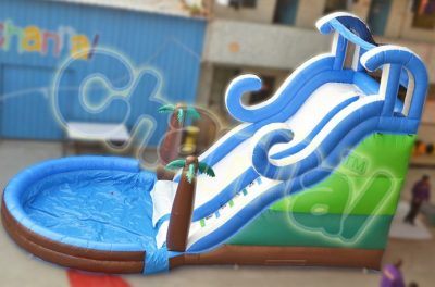 tropical beach inflatable water slide