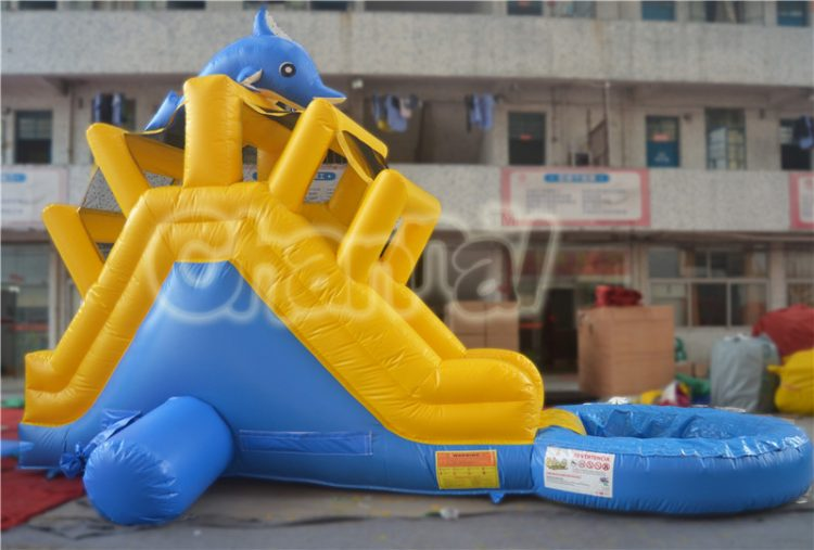 dolphin backyard inflatable water slide