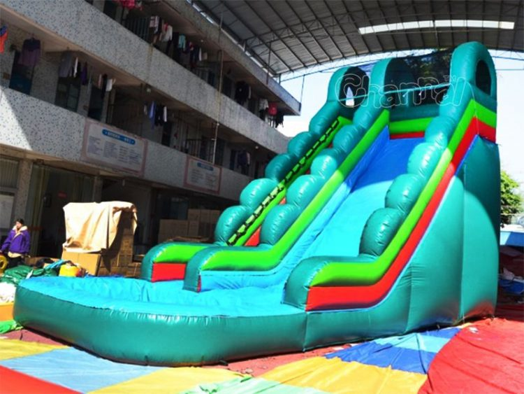 cyan tropical inflatable water slide
