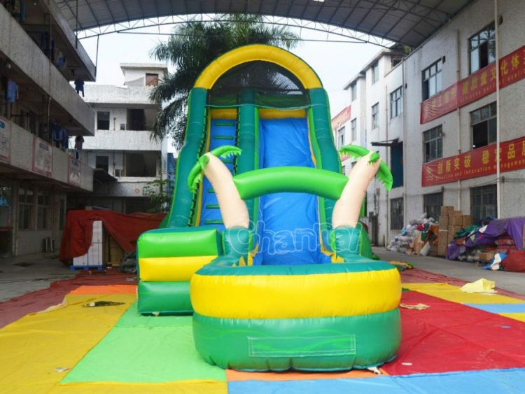tropical theme blow up water slide
