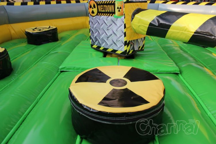 inflatable meltdown sweeper and pedestal with warning sign
