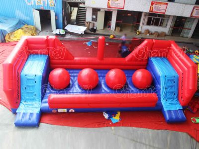 big red ball wipeout course inflatable game